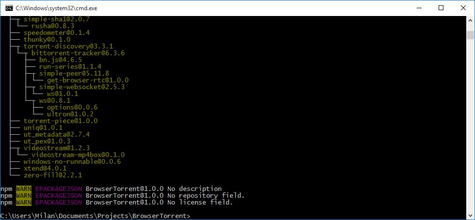 npm install result