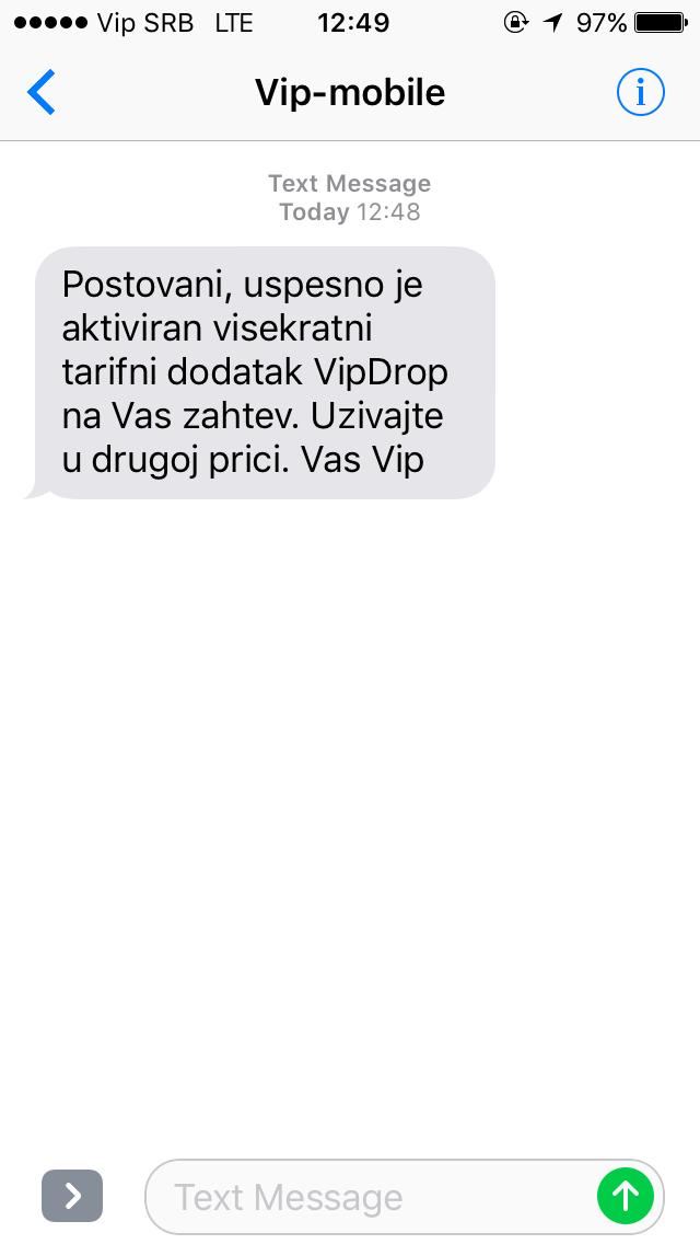 Potvrdna poruka da je Vip Drop aktiviran