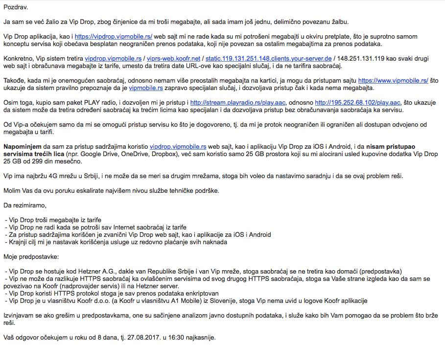 Screenshot žalbe upućene Vip-u 21.08.