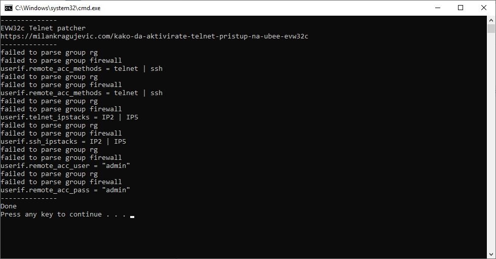Patching konfiguracije GatewaySettings.bin za EVW32c