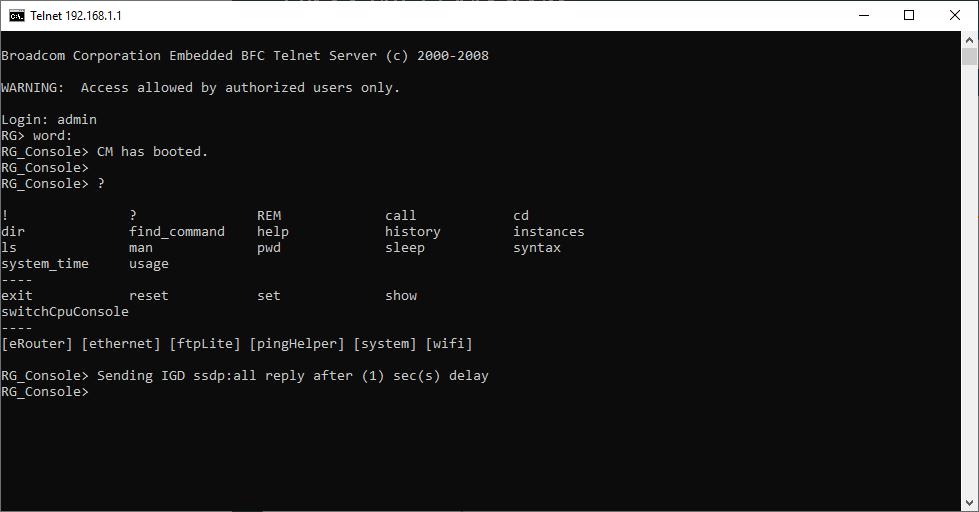 EVW32c Telnet pristup