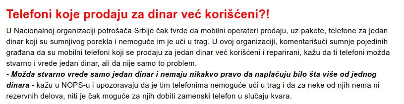 Informer: Telefoni za dinar sa sivog tržišta?!