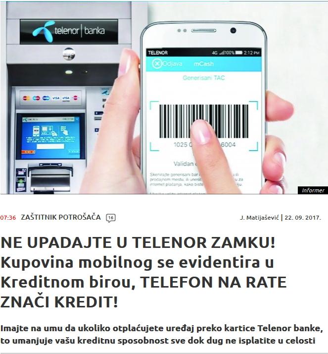 Informer: Kredit u Telenor Banci se beleži u KB!
