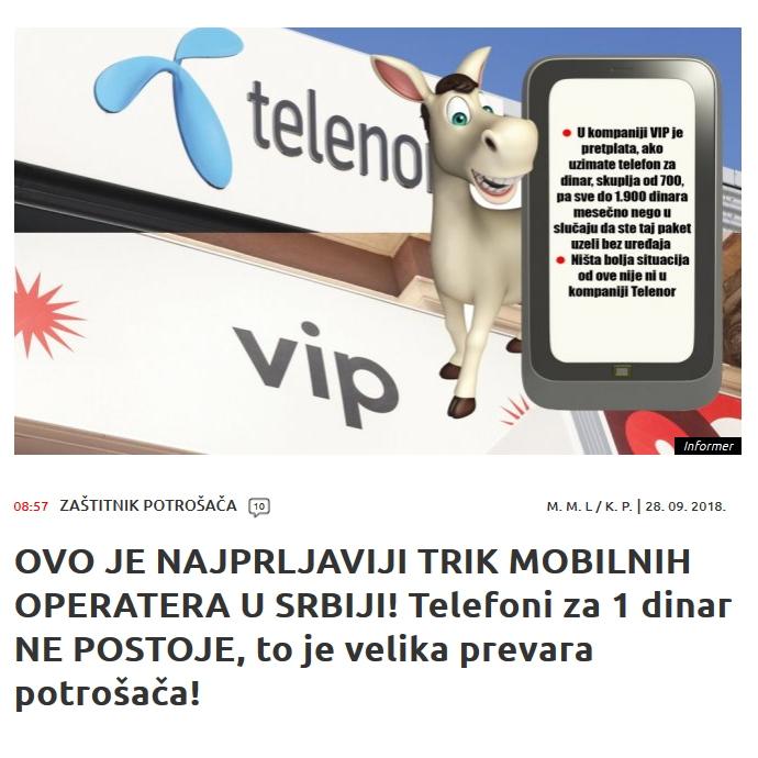 Informer: Vip i Telenor varaju korisnike?!