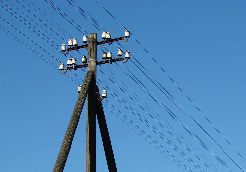 Phone lines on pole