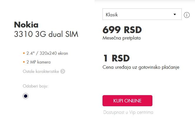 Nokia 3310 uz Klasik tarifu u Vip-u