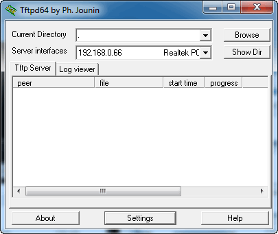 Tftpd64 interface